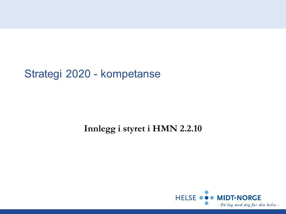 Strategi 2020 - kompetanse Innlegg i styret i HMN 2.2.10