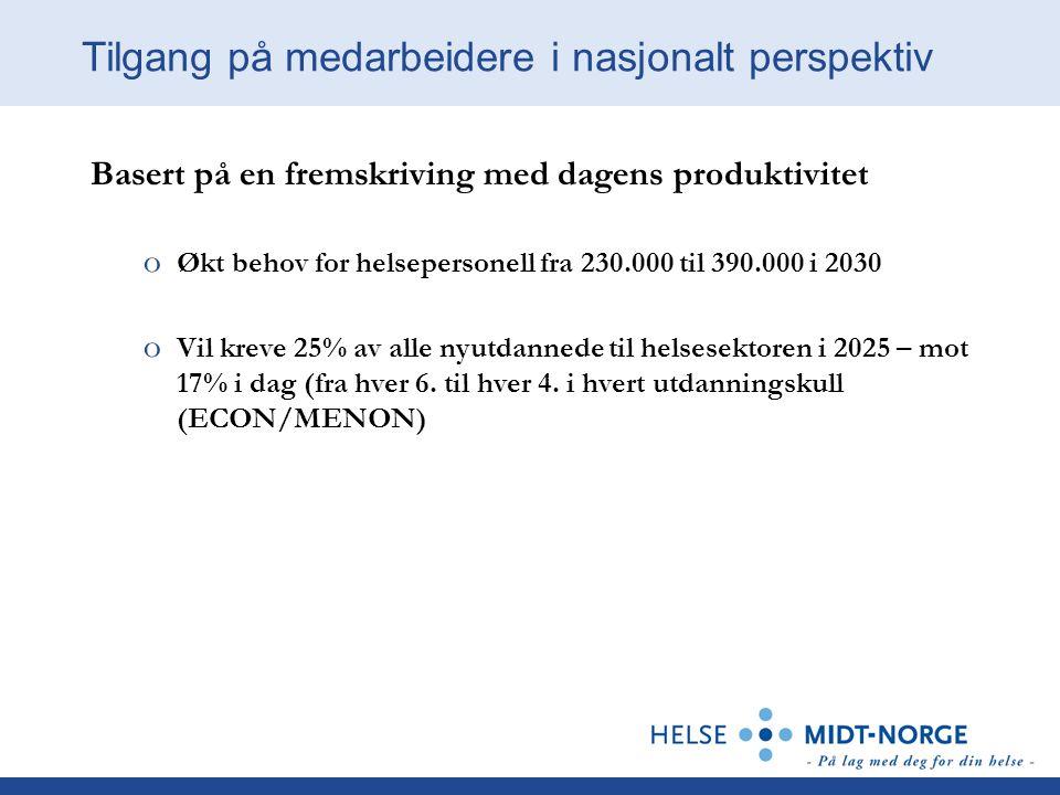 Basert på en fremskriving med dagens produktivitet o Økt behov for helsepersonell fra 230.000 til 390.000 i 2030 o Vil kreve 25% av alle nyutdannede t