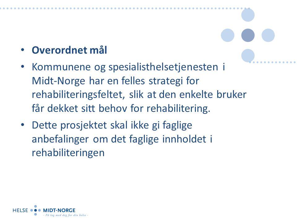 Overordnet mål Kommunene og spesialisthelsetjenesten i Midt-Norge har en felles strategi for rehabiliteringsfeltet, slik at den enkelte bruker får dekket sitt behov for rehabilitering.