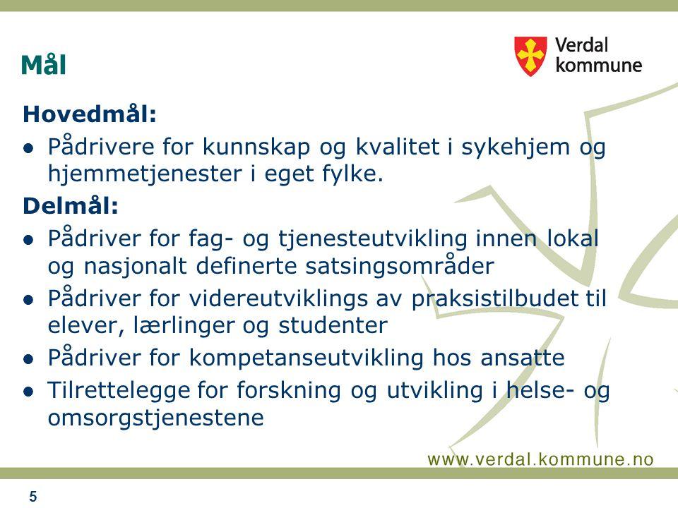 Mål Hovedmål: Pådrivere for kunnskap og kvalitet i sykehjem og hjemmetjenester i eget fylke.