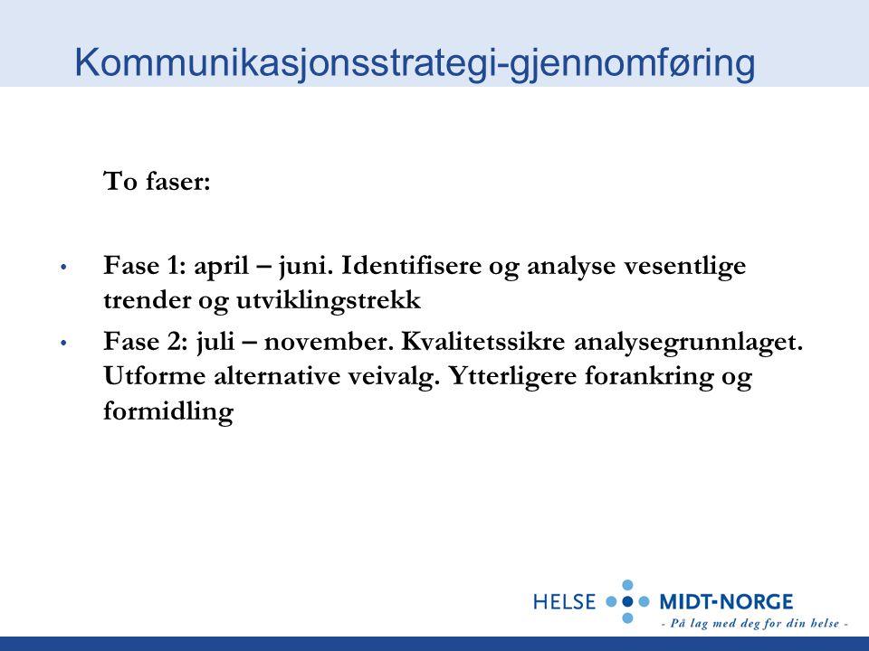 Kommunikasjonsstrategi-gjennomføring To faser: Fase 1: april – juni. Identifisere og analyse vesentlige trender og utviklingstrekk Fase 2: juli – nove