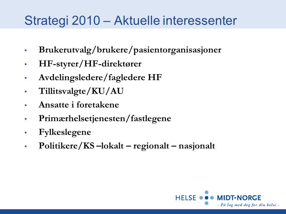 Strategi 2010 – Aktuelle interessenter Brukerutvalg/brukere/pasientorganisasjoner HF-styrer/HF-direktører Avdelingsledere/fagledere HF Tillitsvalgte/K