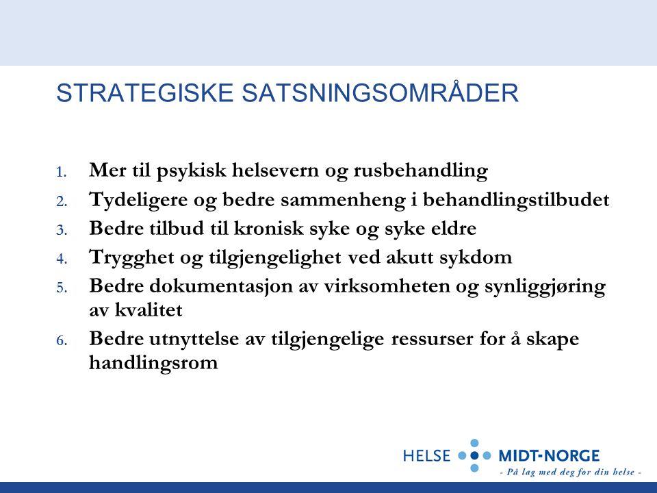 STRATEGISKE SATSNINGSOMRÅDER 1. Mer til psykisk helsevern og rusbehandling 2. Tydeligere og bedre sammenheng i behandlingstilbudet 3. Bedre tilbud til