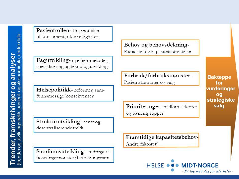 Prioriteringer- mellom sektorer og pasientgrupper Forbruk/forbruksmønster- Pasientstrømmer og valg Framtidige kapasitetsbehov- Andre faktorer.