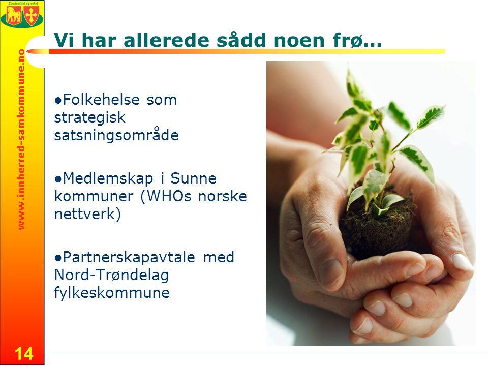 www.innherred-samkommune.no Vi har allerede sådd noen frø… Folkehelse som strategisk satsningsområde Medlemskap i Sunne kommuner (WHOs norske nettverk) Partnerskapavtale med Nord-Trøndelag fylkeskommune 14