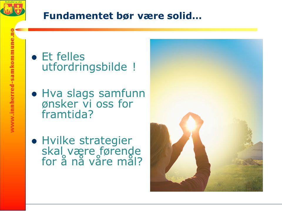 www.innherred-samkommune.no Et felles utfordringsbilde ! Hva slags samfunn ønsker vi oss for framtida? Hvilke strategier skal være førende for å nå vå