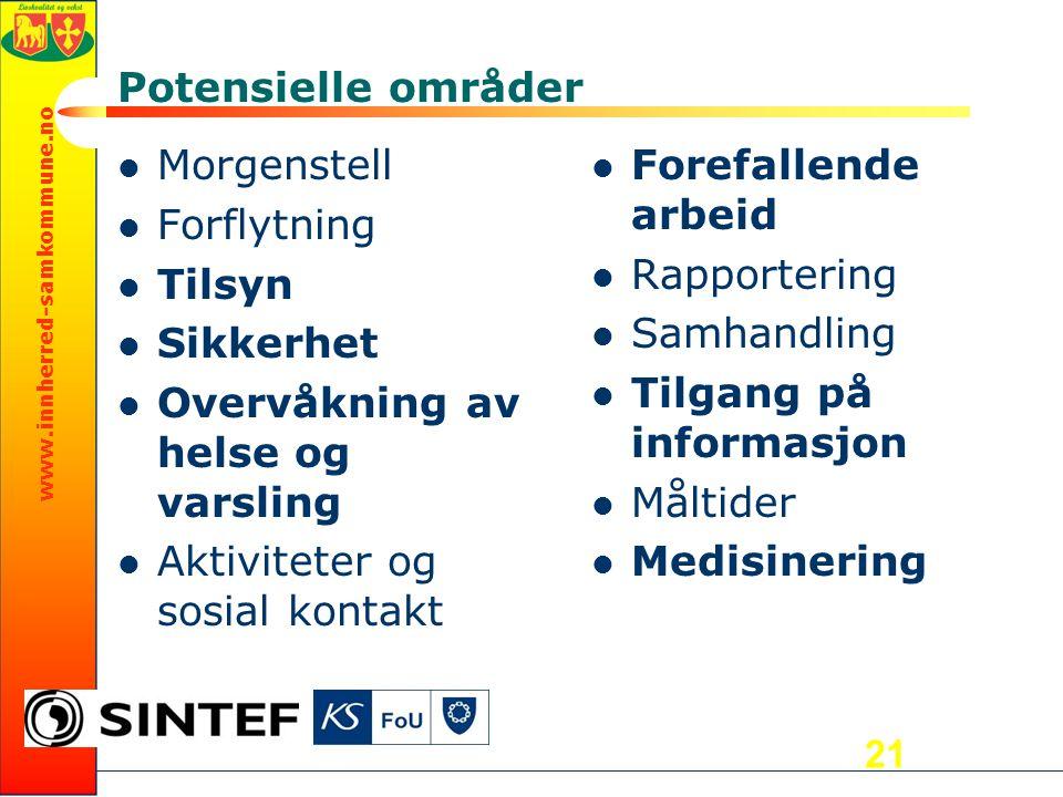 www.innherred-samkommune.no Potensielle områder Morgenstell Forflytning Tilsyn Sikkerhet Overvåkning av helse og varsling Aktiviteter og sosial kontak