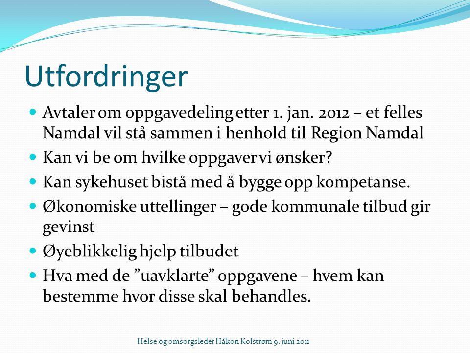Utfordringer Avtaler om oppgavedeling etter 1. jan. 2012 – et felles Namdal vil stå sammen i henhold til Region Namdal Kan vi be om hvilke oppgaver vi