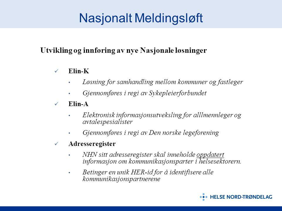 Nasjonalt Meldingsløft Utvikling og innføring av nye Nasjonale løsninger Elin-K Løsning for samhandling mellom kommuner og fastleger Gjennomføres i re