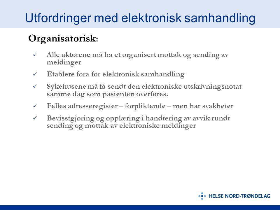Utfordringer med elektronisk samhandling Alle aktørene må ha et organisert mottak og sending av meldinger Etablere fora for elektronisk samhandling Sy