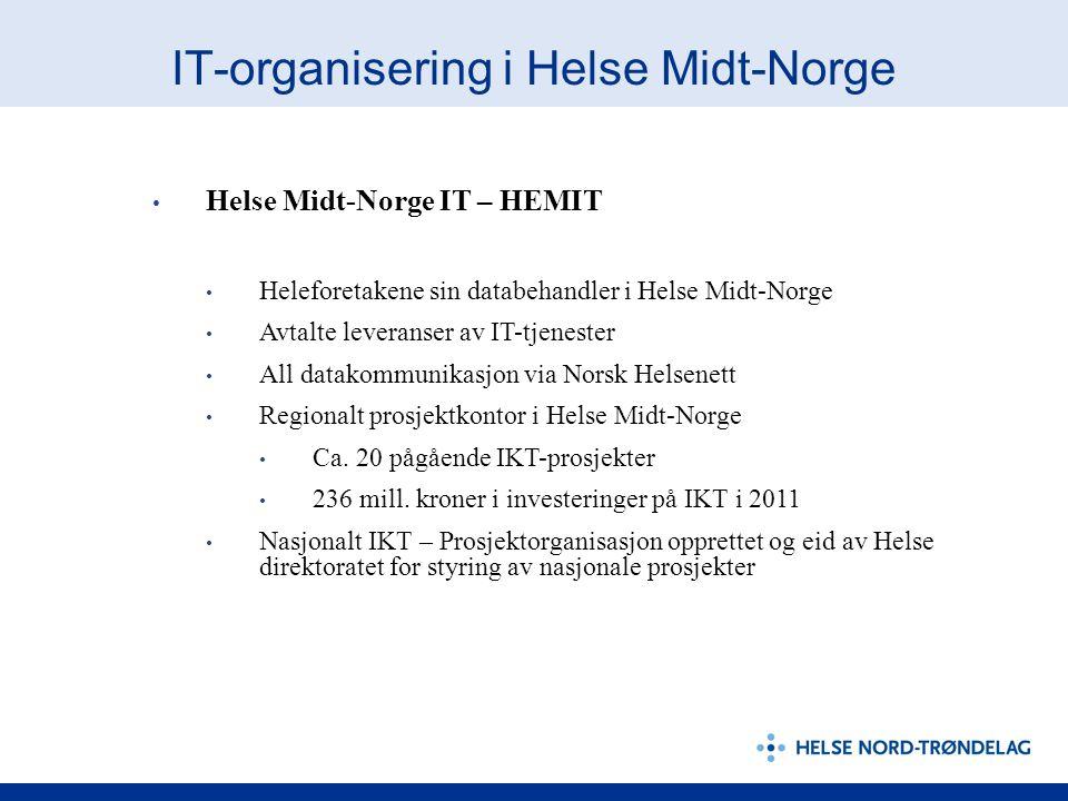 IT-organisering i Helse Midt-Norge Helse Midt-Norge IT – HEMIT Heleforetakene sin databehandler i Helse Midt-Norge Avtalte leveranser av IT-tjenester