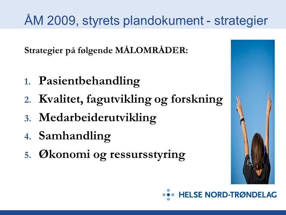 ÅM 2009, styrets plandokument - strategier Strategier på følgende MÅLOMRÅDER: 1.