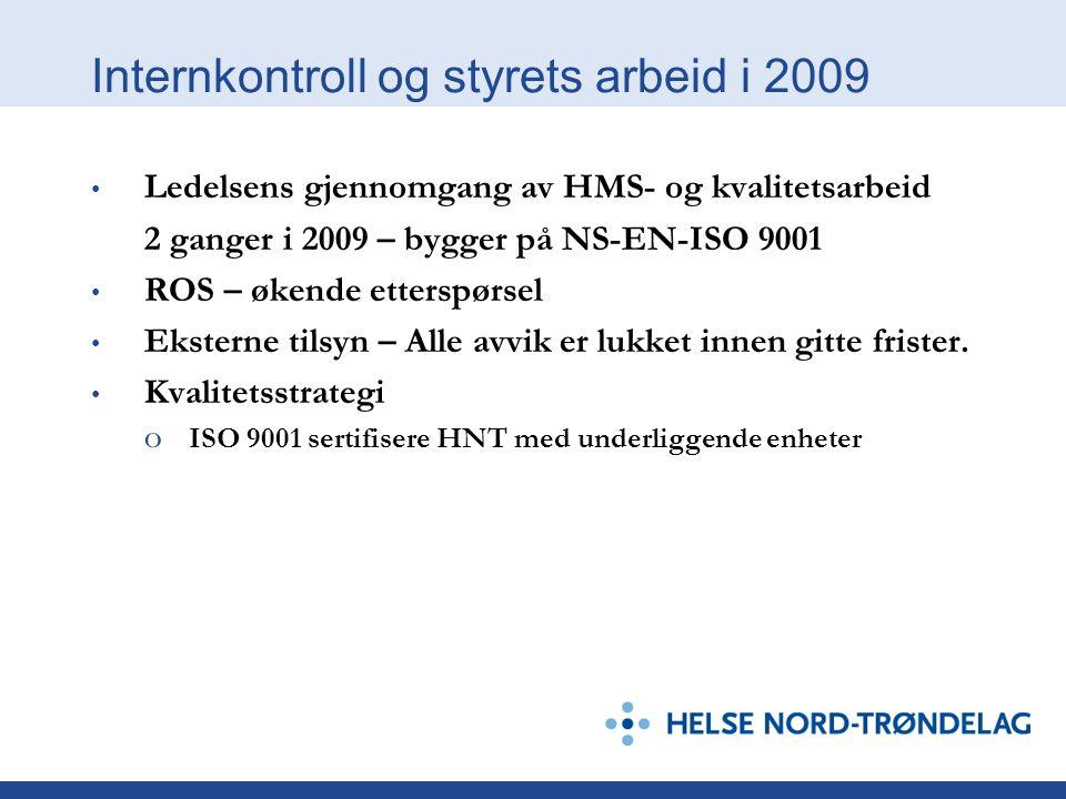 Internkontroll og styrets arbeid i 2009 Ledelsens gjennomgang av HMS- og kvalitetsarbeid 2 ganger i 2009 – bygger på NS-EN-ISO 9001 ROS – økende etterspørsel Eksterne tilsyn – Alle avvik er lukket innen gitte frister.