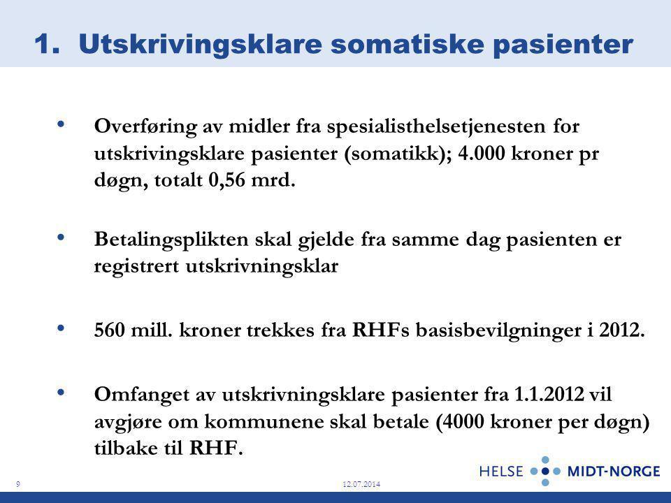 1. Utskrivingsklare somatiske pasienter Overføring av midler fra spesialisthelsetjenesten for utskrivingsklare pasienter (somatikk); 4.000 kroner pr d