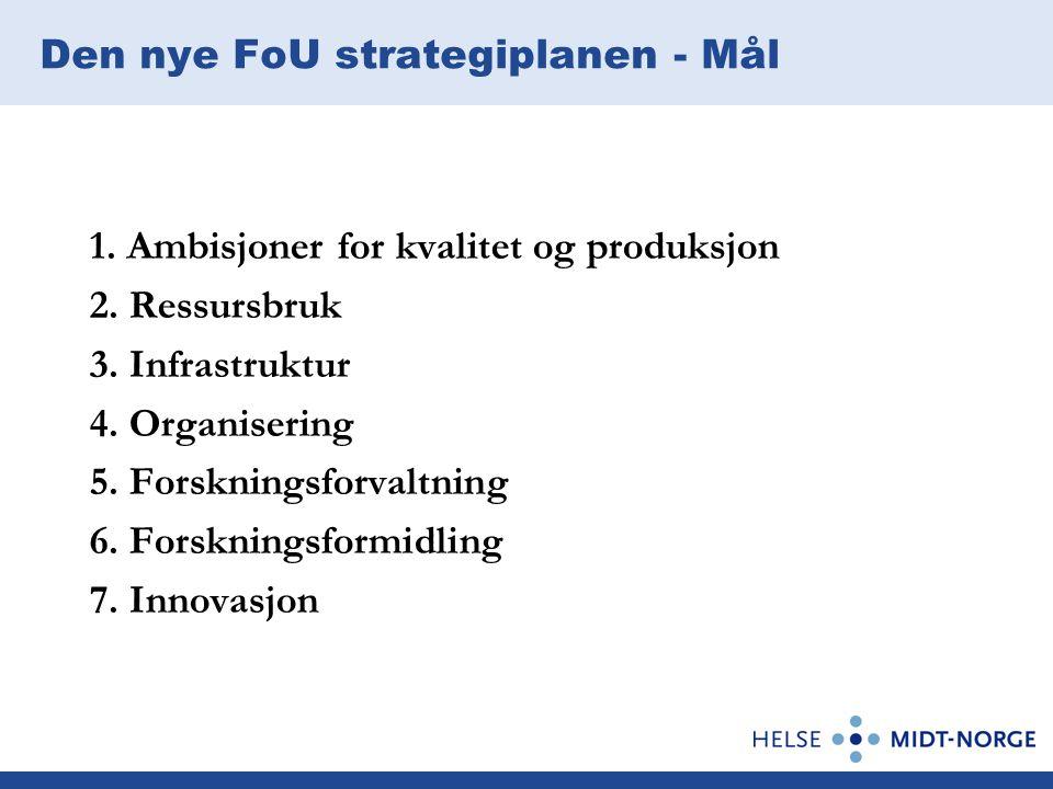 Den nye FoU strategiplanen - Mål 1.Ambisjoner for kvalitet og produksjon 2.