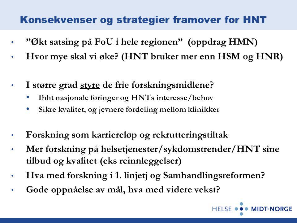 Konsekvenser og strategier framover for HNT Økt satsing på FoU i hele regionen (oppdrag HMN) Hvor mye skal vi øke.