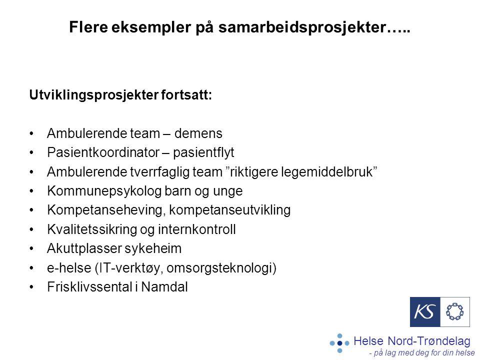 Helse Nord-Trøndelag - på lag med deg for din helse Flere eksempler på samarbeidsprosjekter….. Utviklingsprosjekter fortsatt: Ambulerende team – demen