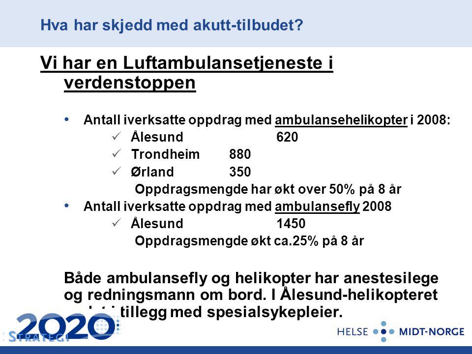 Hva har skjedd med akutt-tilbudet? Vi har en Luftambulansetjeneste i verdenstoppen Antall iverksatte oppdrag med ambulansehelikopter i 2008: Ålesund 6