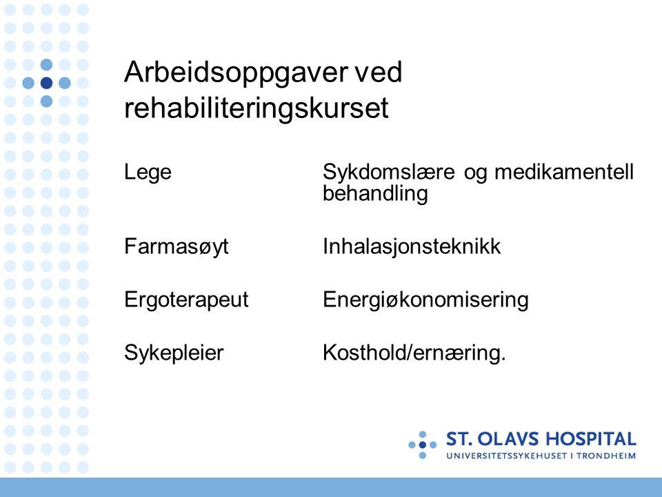 Arbeidsoppgaver ved rehabiliteringskurset Lege Sykdomslære og medikamentell behandling Farmasøyt Inhalasjonsteknikk Ergoterapeut Energiøkonomisering S
