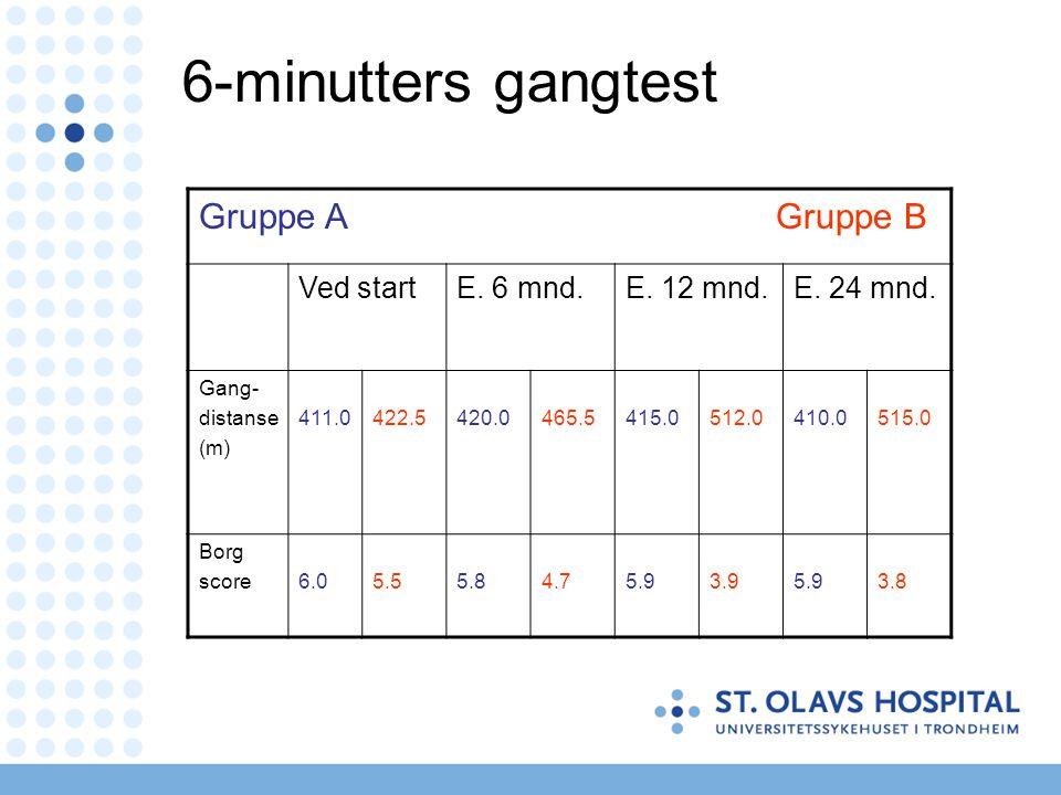 6-minutters gangtest Gruppe A Gruppe B Ved startE. 6 mnd.E. 12 mnd.E. 24 mnd. Gang- distanse (m) 411.0422.5420.0465.5415.0512.0410.0515.0 Borg score6.