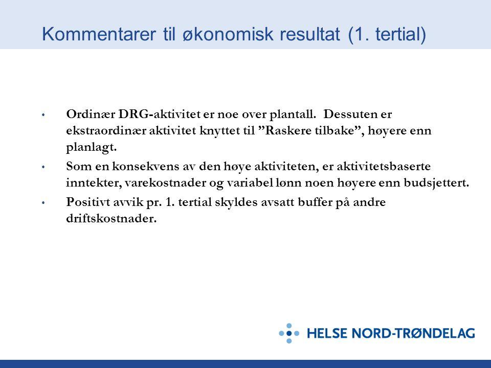 Kommentarer til økonomisk resultat (1. tertial) Ordinær DRG-aktivitet er noe over plantall.