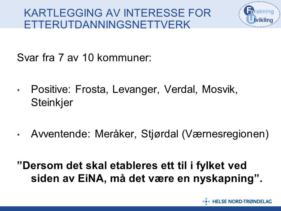 KARTLEGGING AV INTERESSE FOR ETTERUTDANNINGSNETTVERK Svar fra 7 av 10 kommuner: Positive: Frosta, Levanger, Verdal, Mosvik, Steinkjer Avventende: Merå
