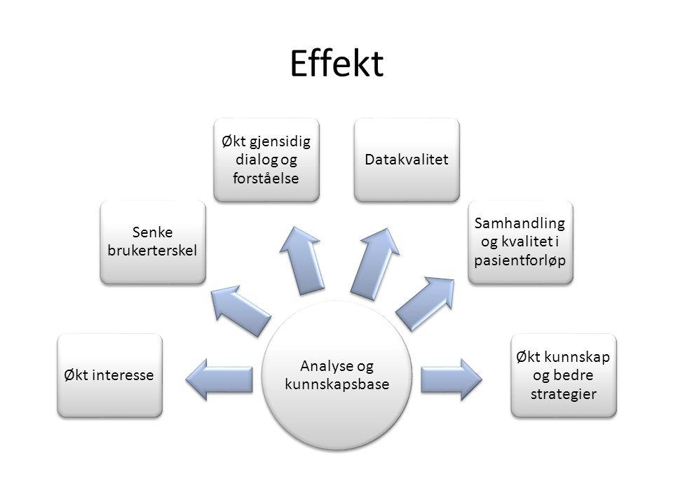 Effekt Analyse og kunnskapsbase Økt interesse Senke brukerterskel Økt gjensidig dialog og forståelse Datakvalitet Samhandling og kvalitet i pasientforløp Økt kunnskap og bedre strategier