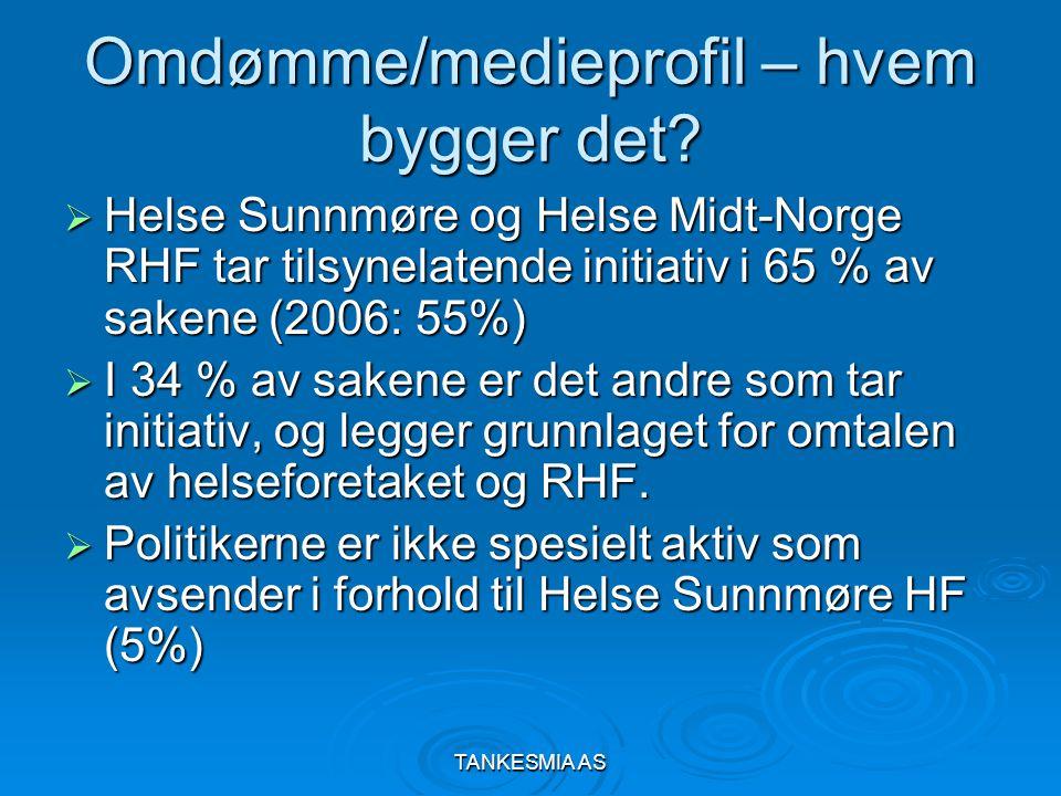 TANKESMIA AS Omdømme/medieprofil – hvem bygger det?  Helse Sunnmøre og Helse Midt-Norge RHF tar tilsynelatende initiativ i 65 % av sakene (2006: 55%)