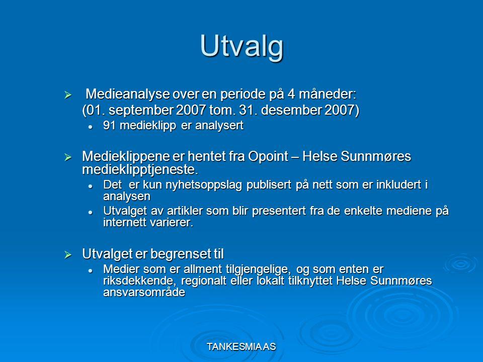 TANKESMIA AS Utvalg  Medieanalyse over en periode på 4 måneder: (01. september 2007 tom. 31. desember 2007) 91 medieklipp er analysert 91 medieklipp