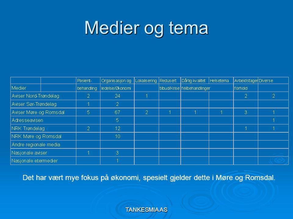 TANKESMIA AS Medier og tema Det har vært mye fokus på økonomi, spesielt gjelder dette i Møre og Romsdal.