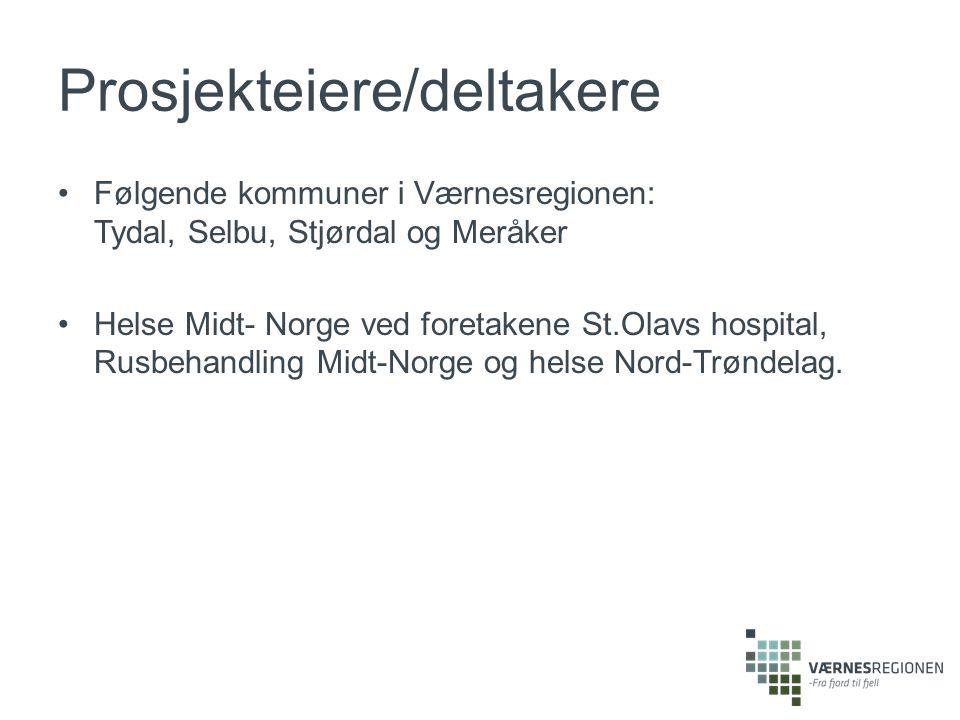 Prosjekteiere/deltakere Følgende kommuner i Værnesregionen: Tydal, Selbu, Stjørdal og Meråker Helse Midt- Norge ved foretakene St.Olavs hospital, Rusbehandling Midt-Norge og helse Nord-Trøndelag.