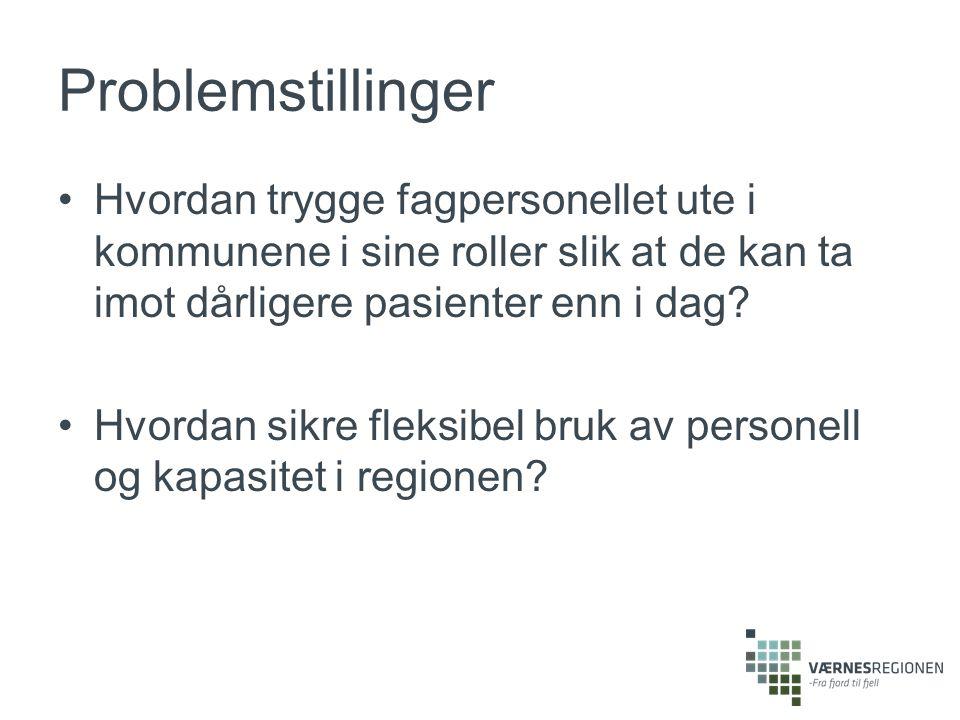 Problemstillinger Hvordan trygge fagpersonellet ute i kommunene i sine roller slik at de kan ta imot dårligere pasienter enn i dag.