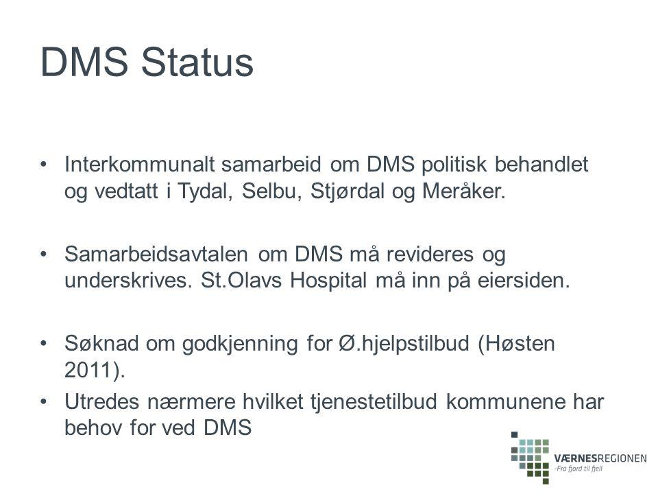 DMS Status Interkommunalt samarbeid om DMS politisk behandlet og vedtatt i Tydal, Selbu, Stjørdal og Meråker.