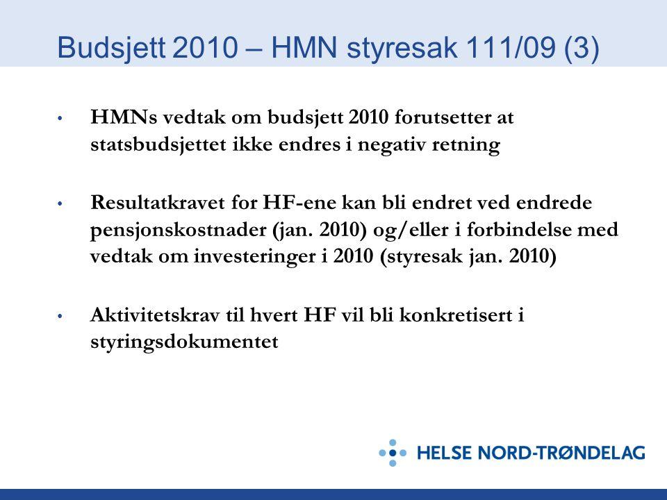 Budsjett 2010 – HMN styresak 111/09 (3) HMNs vedtak om budsjett 2010 forutsetter at statsbudsjettet ikke endres i negativ retning Resultatkravet for H