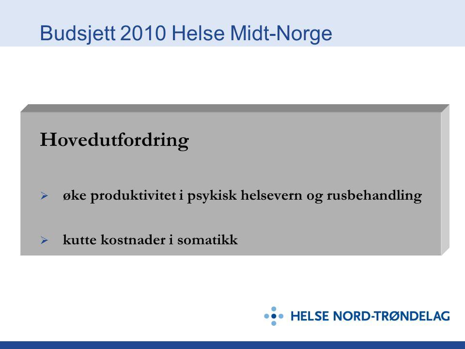 Budsjett 2010 Helse Midt-Norge Hovedutfordring  øke produktivitet i psykisk helsevern og rusbehandling  kutte kostnader i somatikk