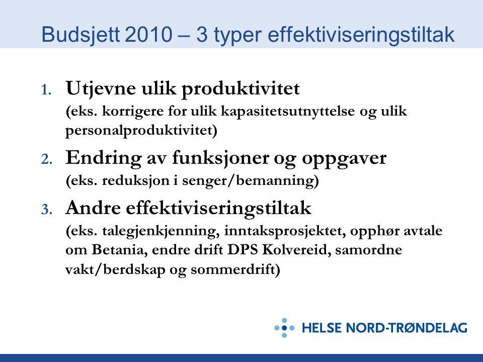 Budsjett 2010 – 3 typer effektiviseringstiltak 1. Utjevne ulik produktivitet (eks. korrigere for ulik kapasitetsutnyttelse og ulik personalproduktivit