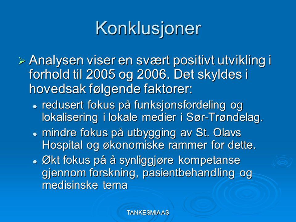 TANKESMIA AS Konklusjoner  Analysen viser en svært positivt utvikling i forhold til 2005 og 2006.