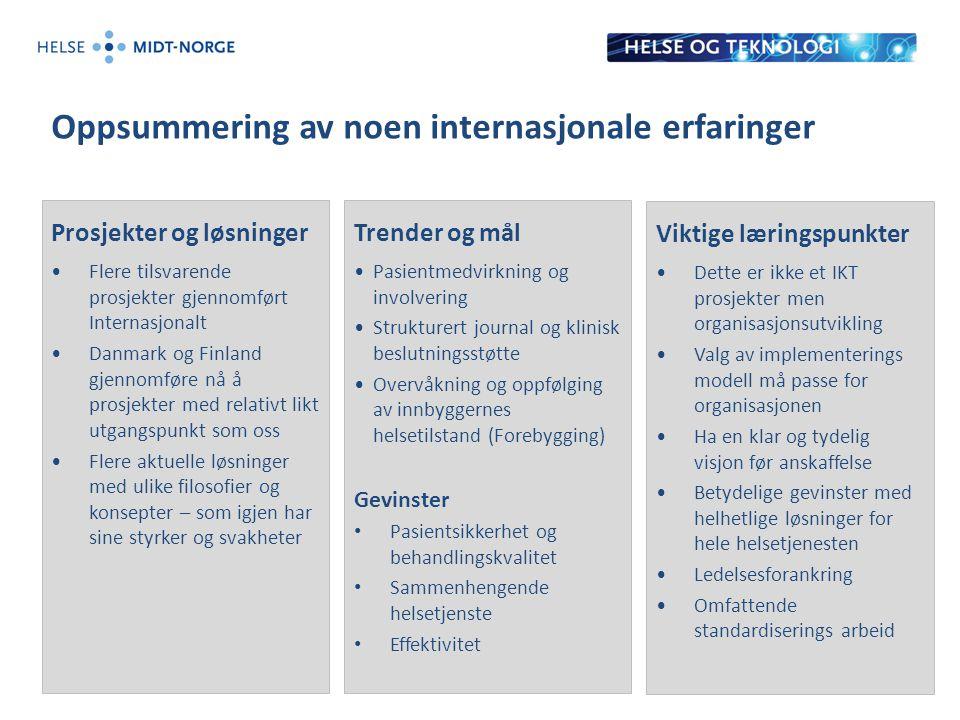 Oppsummering av noen internasjonale erfaringer Prosjekter og løsninger Flere tilsvarende prosjekter gjennomført Internasjonalt Danmark og Finland gjen
