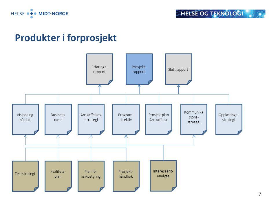 Visjons og måldok. Produkter i forprosjekt 7 Sluttrapport Erfarings- rapport Prosjekt- rapport Business case Anskaffelses -strategi Program- direktiv