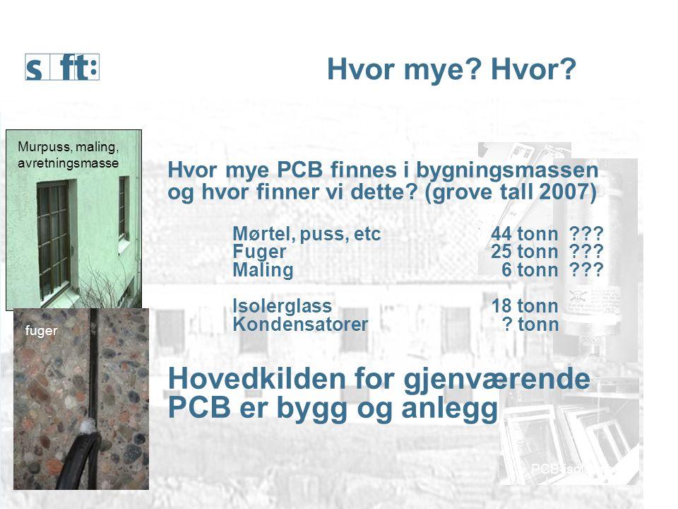 NGUs nye PCB-undersøkelse Utendørs 105 bygninger i 5 byer Porsgrunn, Drammen, Ålesund, Kristiansand og Stavanger Påvist PCB i eller ved 31 av byggene Hoveddelen lave verdier Stavanger er den av de fem undersøkte byene som har flest prøver som inneholder PCB.