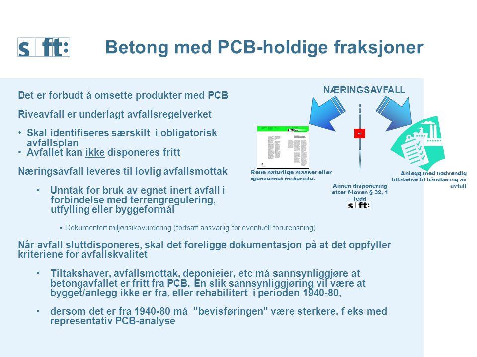 Betong med PCB-holdige fraksjoner Det er forbudt å omsette produkter med PCB Riveavfall er underlagt avfallsregelverket Skal identifiseres særskilt i