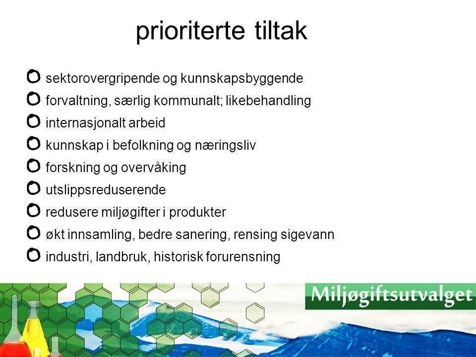 prioriterte tiltak sektorovergripende og kunnskapsbyggende forvaltning, særlig kommunalt; likebehandling internasjonalt arbeid kunnskap i befolkning o