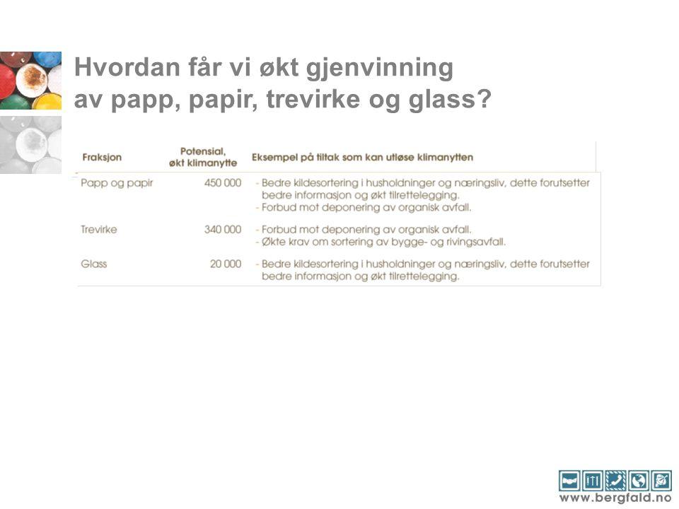 Hvordan får vi økt gjenvinning av papp, papir, trevirke og glass?