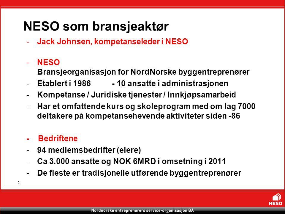 2 NESO som bransjeaktør -Jack Johnsen, kompetanseleder i NESO -NESO Bransjeorganisasjon for NordNorske byggentreprenører -Etablert i 1986- 10 ansatte i administrasjonen -Kompetanse / Juridiske tjenester / Innkjøpsamarbeid -Har et omfattende kurs og skoleprogram med om lag 7000 deltakere på kompetansehevende aktiviteter siden -86 - Bedriftene -94 medlemsbedrifter (eiere) -Ca 3.000 ansatte og NOK 6MRD i omsetning i 2011 -De fleste er tradisjonelle utførende byggentreprenører