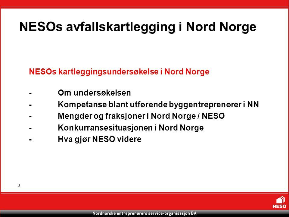 3 NESOs avfallskartlegging i Nord Norge NESOs kartleggingsundersøkelse i Nord Norge -Om undersøkelsen -Kompetanse blant utførende byggentreprenører i NN -Mengder og fraksjoner i Nord Norge / NESO -Konkurransesituasjonen i Nord Norge -Hva gjør NESO videre