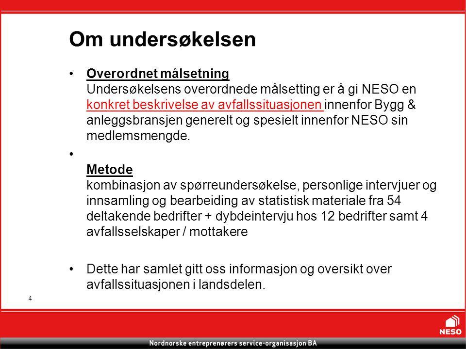 4 Om undersøkelsen Overordnet målsetning Undersøkelsens overordnede målsetting er å gi NESO en konkret beskrivelse av avfallssituasjonen innenfor Bygg & anleggsbransjen generelt og spesielt innenfor NESO sin medlemsmengde.