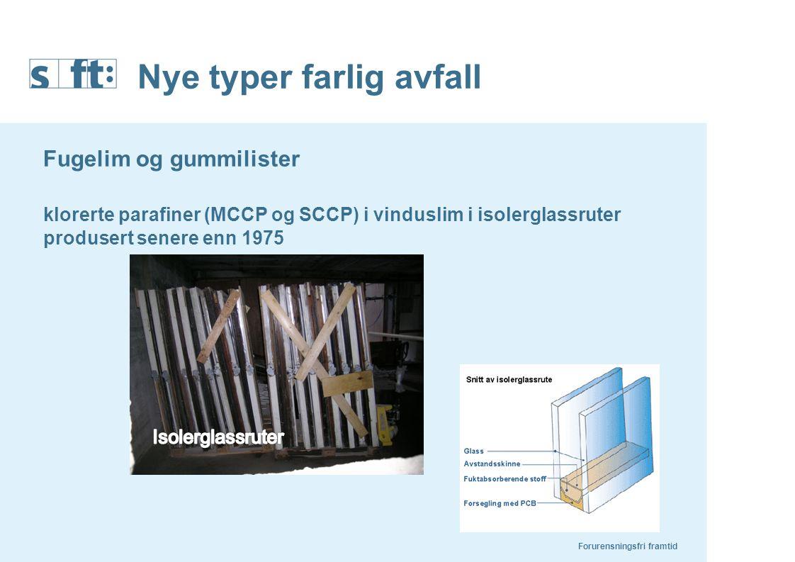Nye typer farlig avfall Fugelim og gummilister klorerte parafiner (MCCP og SCCP) i vinduslim i isolerglassruter produsert senere enn 1975 Forurensning
