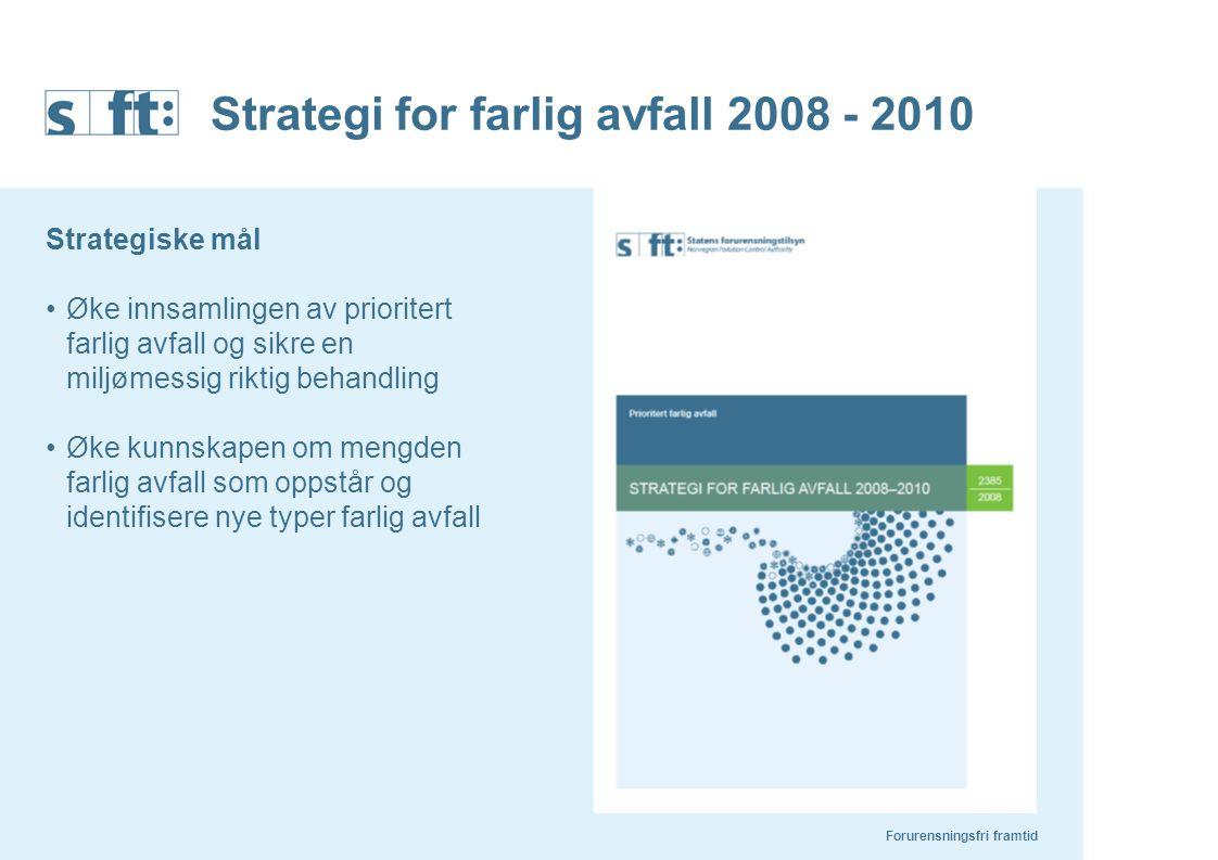 Forurensningsfri framtid Strategi for farlig avfall 2008 - 2010 Strategiske mål Øke innsamlingen av prioritert farlig avfall og sikre en miljømessig r