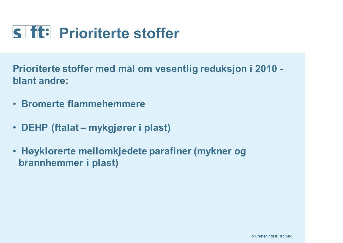 Prioriterte stoffer Forurensningsfri framtid Prioriterte stoffer med mål om vesentlig reduksjon i 2010 - blant andre: Bromerte flammehemmere DEHP (fta