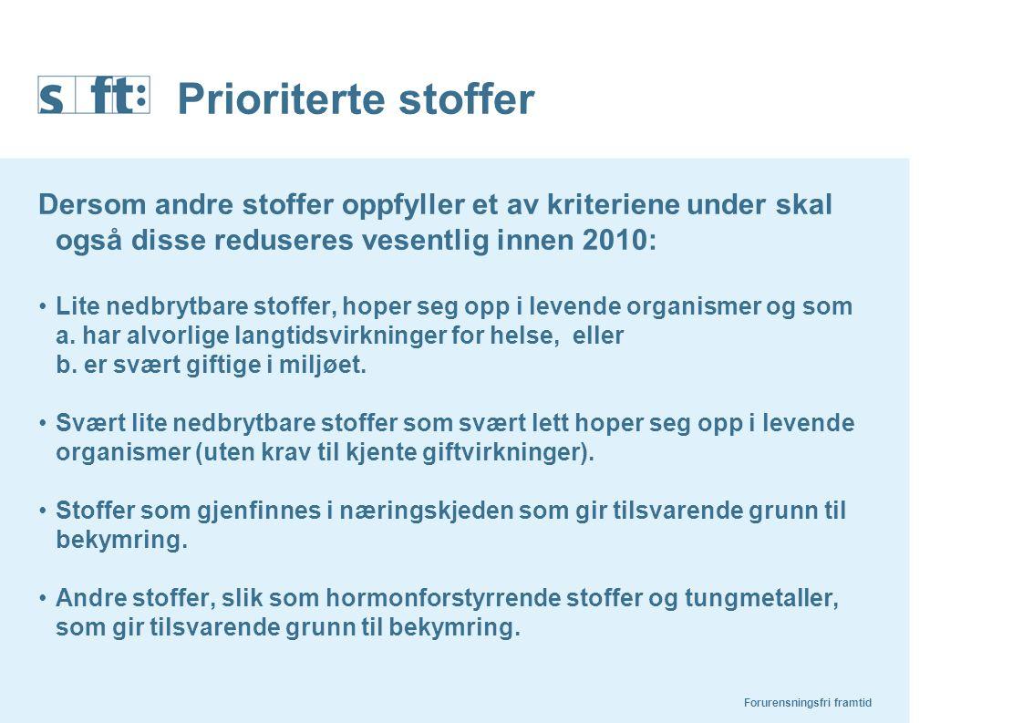 Prioriterte stoffer Dersom andre stoffer oppfyller et av kriteriene under skal også disse reduseres vesentlig innen 2010: Lite nedbrytbare stoffer, ho